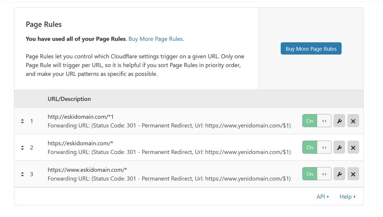CloudFlare Domain Yönlendirme 301