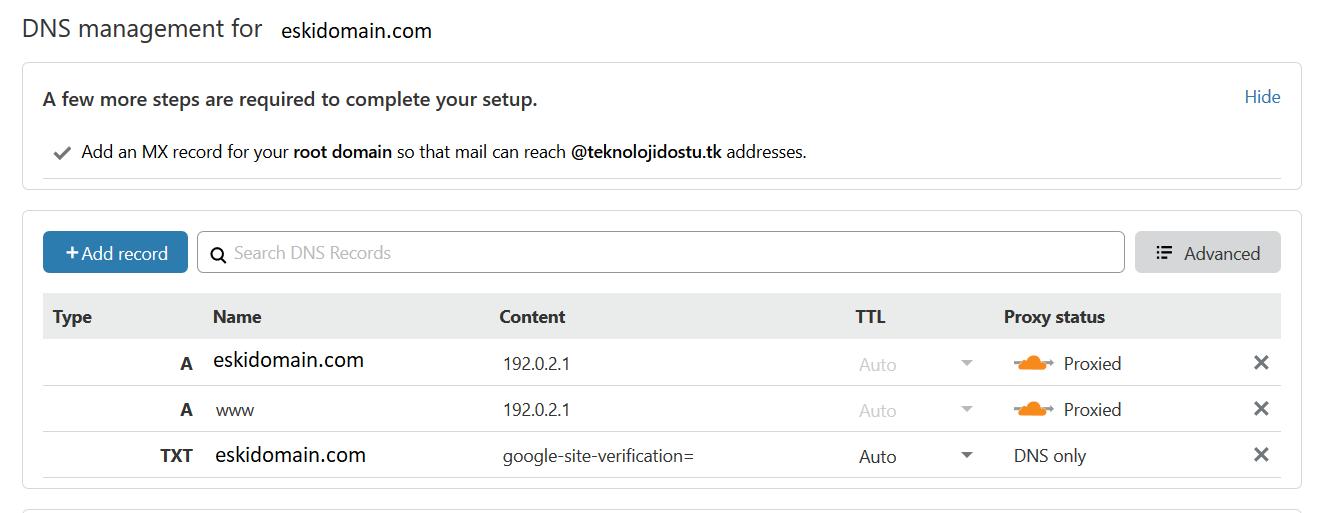 CloudFlare domain yönlendirme