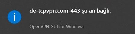 OpenVPN bağlandı