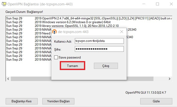 OpenVPN bilgileri girme
