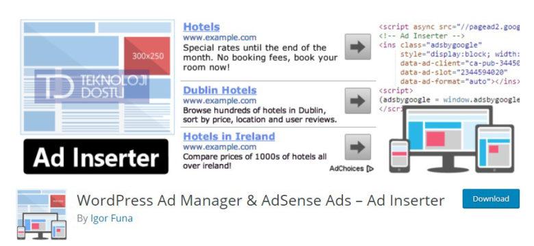 En İyi Adsense Reklam Yerleştirme Eklentisi WordPress