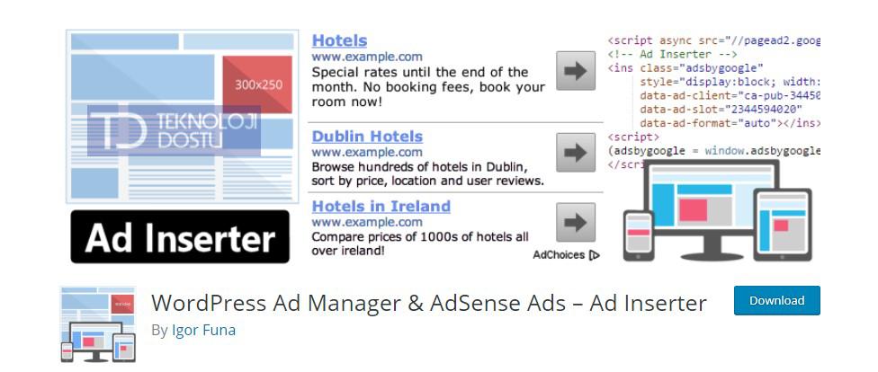 Adsense Reklam yerleştirme eklentisi
