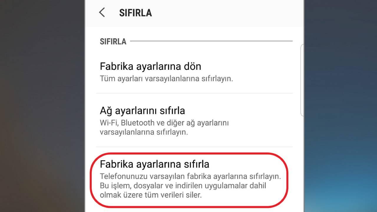 Android sıfırlama
