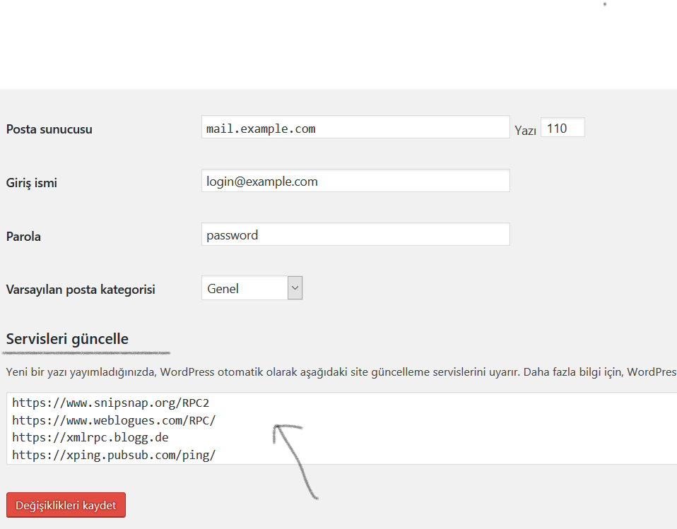 Güncel Ping Servisleri WordPress