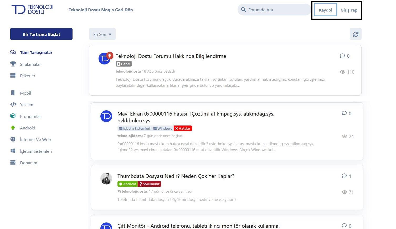 Teknoloji Dostu Forum Kayıt Olma