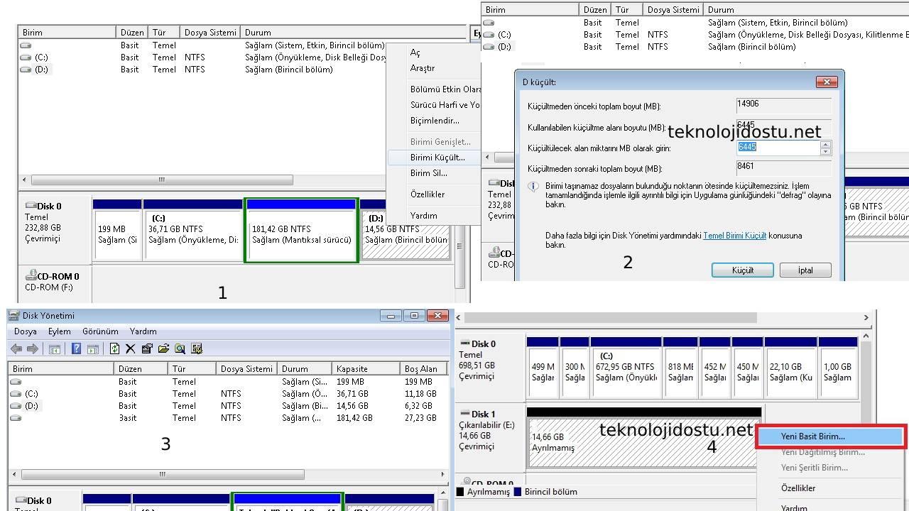 Disk Küçültme Windows