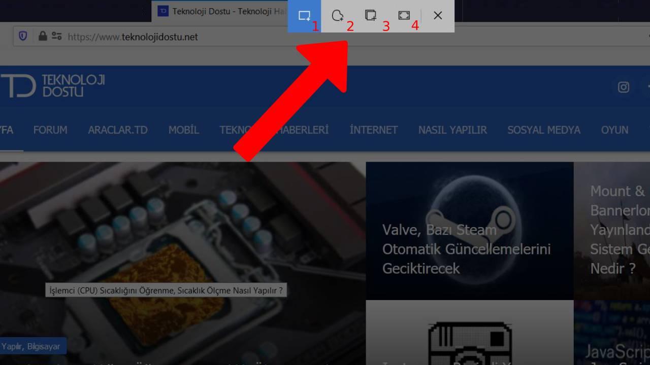 Alıntı ve Taslak Aracı - Ekran görüntüsü alma